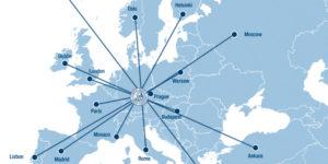 Karte zeigt die Lage von Erlangen in Europa